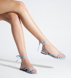 Schutz x Ginger Sandália Flat Lace-Up Blue