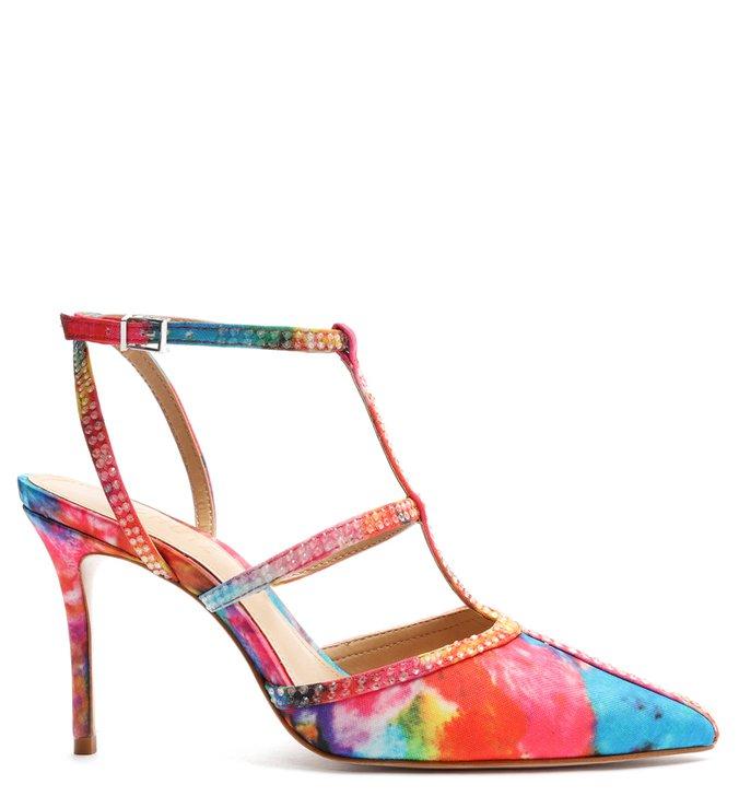 Sapato Scarpin Chiara Tiras Pedrarias Estampado