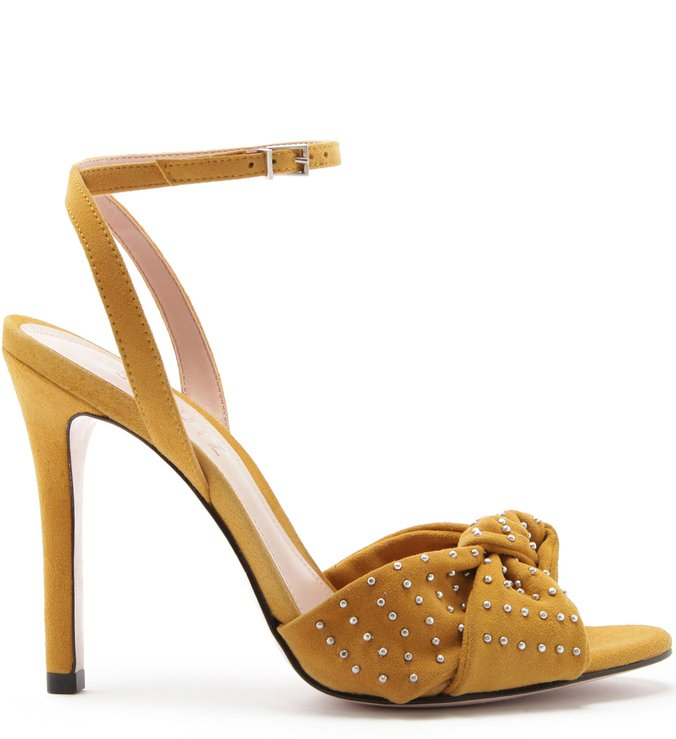 Sandália Salto Nobuck Knot Glam Neutral | Schutz