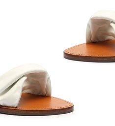 Flat Slide Couro Twist White