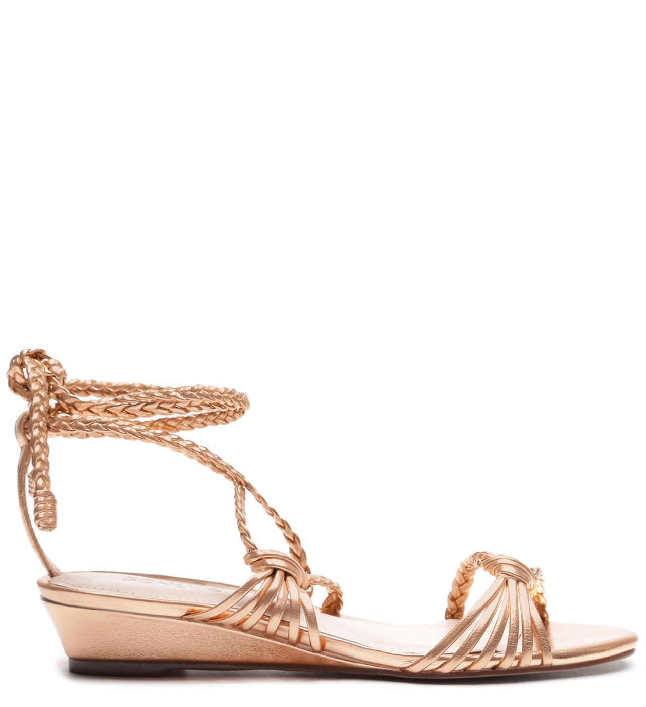 Sandália Anabela Low Strings Metallic Salmon | Schutz