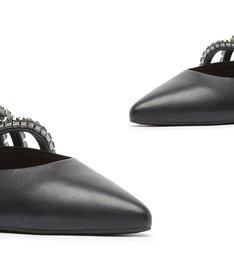 Sapato Mule Rasteira Couro Cristais Preto