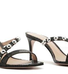 Sandália Mule Studs Python Black