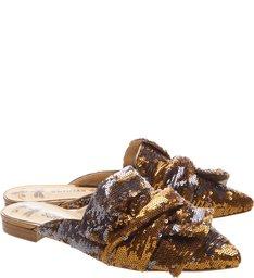 Flat Mule Big Knot Paetê Bronze