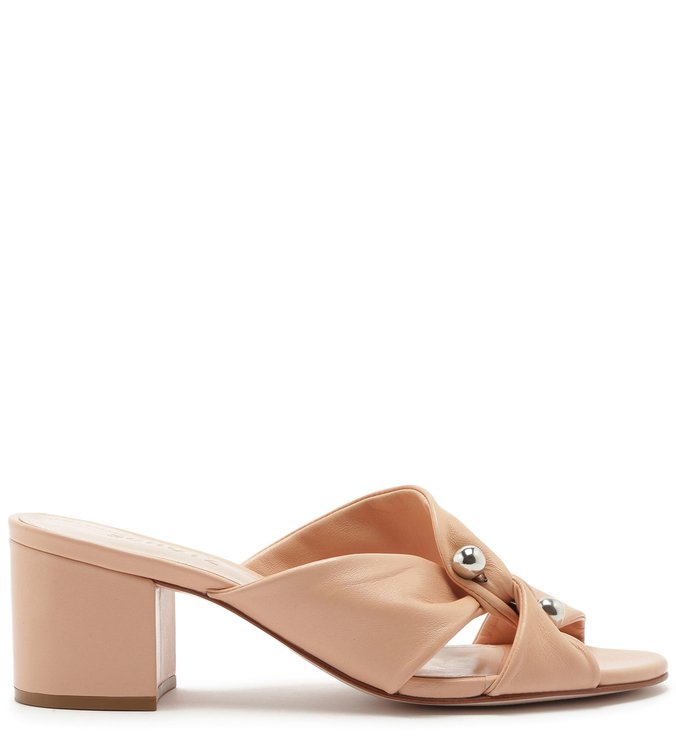 Mule Block Heel Twist Metallic Pearl Honey | Schutz