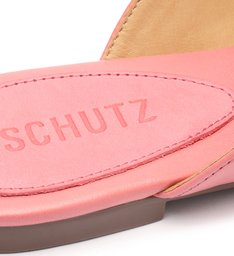 Sapato Mule Rasteira Triangle Couro Rosa