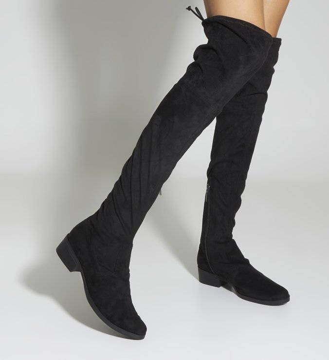 Bota Flat Over The Knee Black