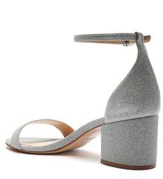 Sandália Salto Bloco Glitter Prata