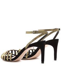 Sandália Mid Heel Cage Gold