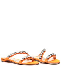 Rasteira Crystal Glam Neon Orange