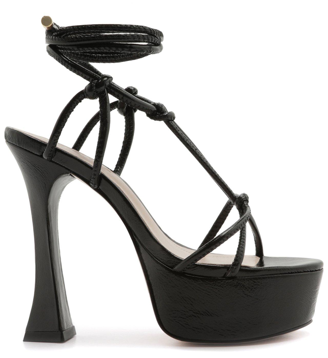 Sandália Meia Pata Bold Lace-Up Black | Schutz