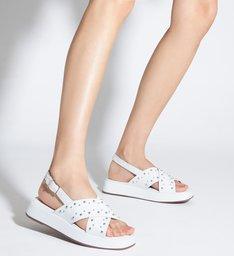 Sandália Papete Flatform Couro Tachas Branca