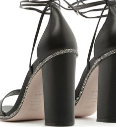 Sandália Salto Grosso Lace-Up Glam Black
