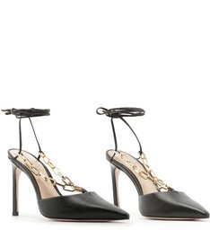 Scarpin Lace-Up Chain Black