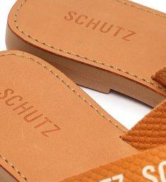 Sandália Rasteira de X Tecido Logo Schutz Laranja