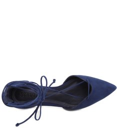 Sapatilha Bico Fino Lace Up Dress Blue