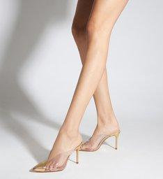 Sapato Mule com Salto Transparente Dourado