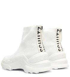Tênis Square Knit Cano Alto Branco