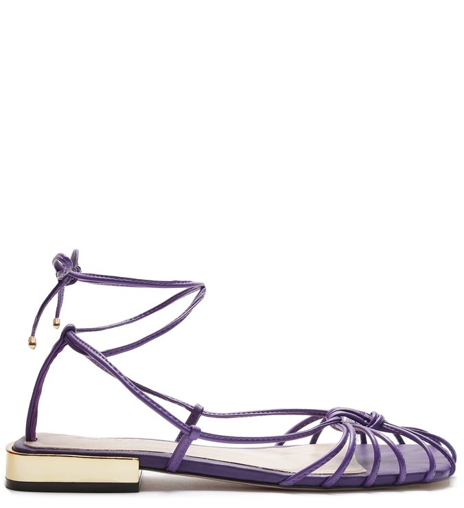 Flat Strings Lace-Up Cage Purple