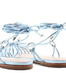 Flat Strings Lace-Up Metallic Blue