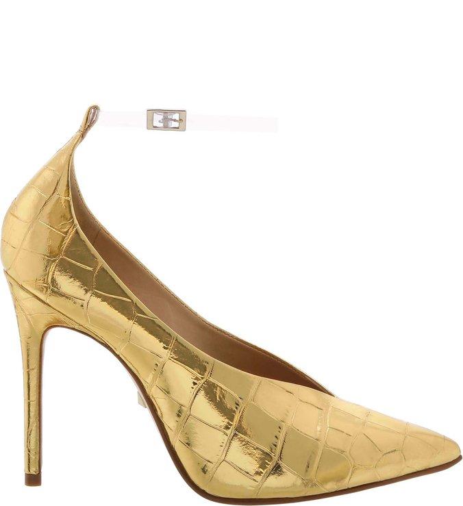 Sapato Scarpin Vinil Croco Dourado | Schutz