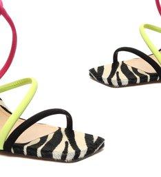 Sandália Salto Grosso Neon Zebra