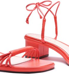 Sandália Block Heel Strings Coral