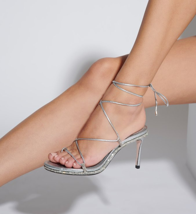 Sandália Salto Lace-Up Glam Prata