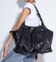 Bolsa Shopping Grande Lauren Couro Preta