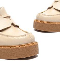 Sapato Mocassim Salto Couro Branco