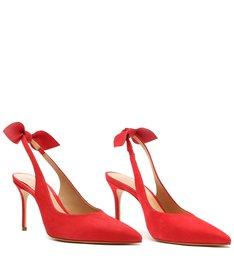 Sapato Scarpin Emily Camurça Vermelho