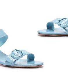 Sandália Mule Block Heel Fivelas Blue