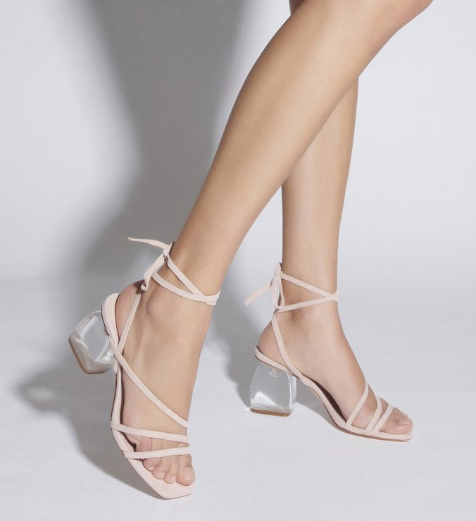 SANDÁLIA SALTO BOLD ACRILIC LACE-UP ROSE