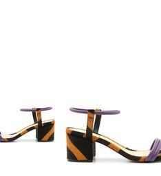 Sandália Block Heel Zebra Purple