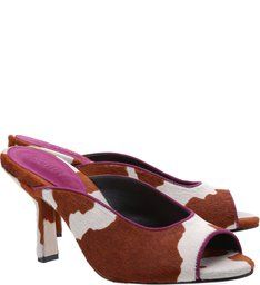 Open Mule Cow Nobuck Pink