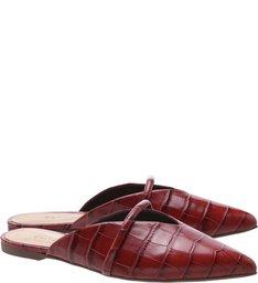 Flat Mule Croco Red Brown