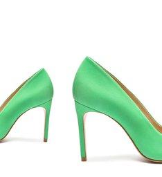 Sapato Scarpin Salto Alto Nobuck Verde Claro
