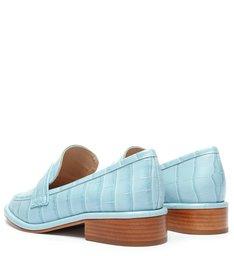Schutz x Ginger Mocassim Croco Blue