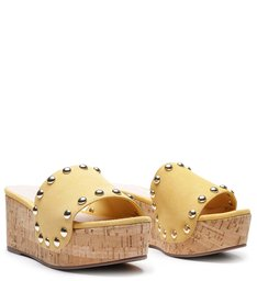SANDÁLIA WEDGE CORTIÇA NEW YELLOW