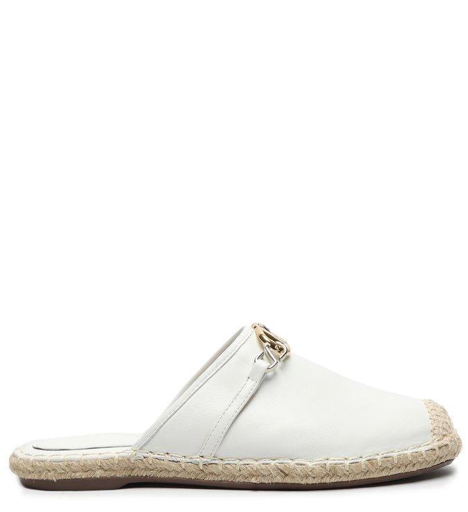 Flat Mule Espadrille White