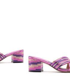Mule Textures Block Heel Metallic Purple
