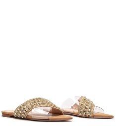Sandália Rasteira Lace-Up Glam Natural