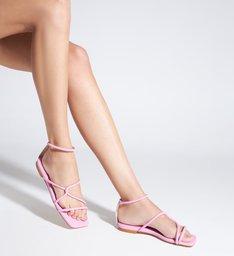 Sandália Rasteira Bico Quadrado Entrelaçada Rosa