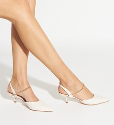 Scarpin Slingback Kitten Heel Gold White