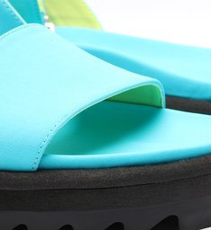Sandália Papete Flatform Tratorada Nylon Neon Azul