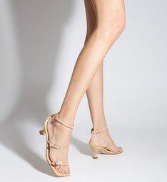 Sandália Salto Baixo Couro Bege