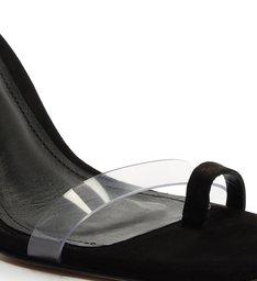 Sandália Salto Triangle Avva Nobuck Transparente Preta