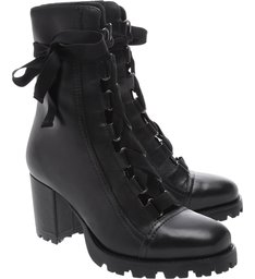 Combat Boot Lace Up Black