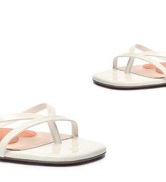 Schutz x Ginger Sandália Flat Lace-Up White