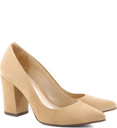 Scarpin Block Heel Light Wood